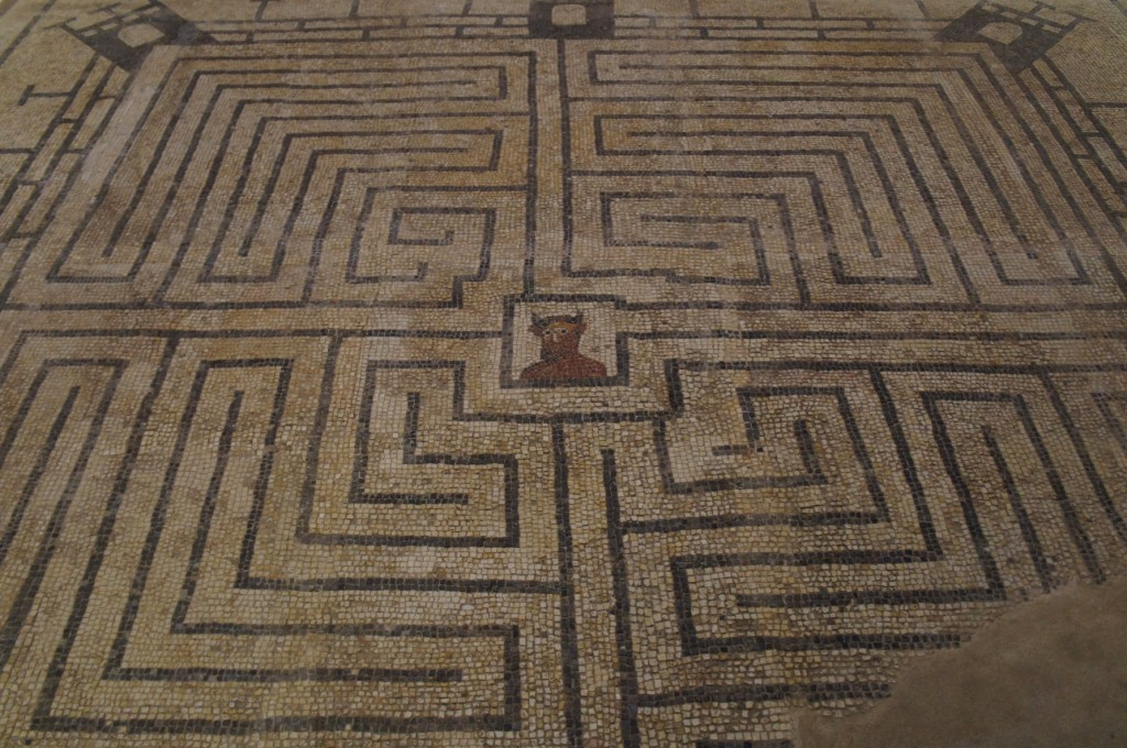 Amazing labyrinth mosaic inside Conímbriga museum.