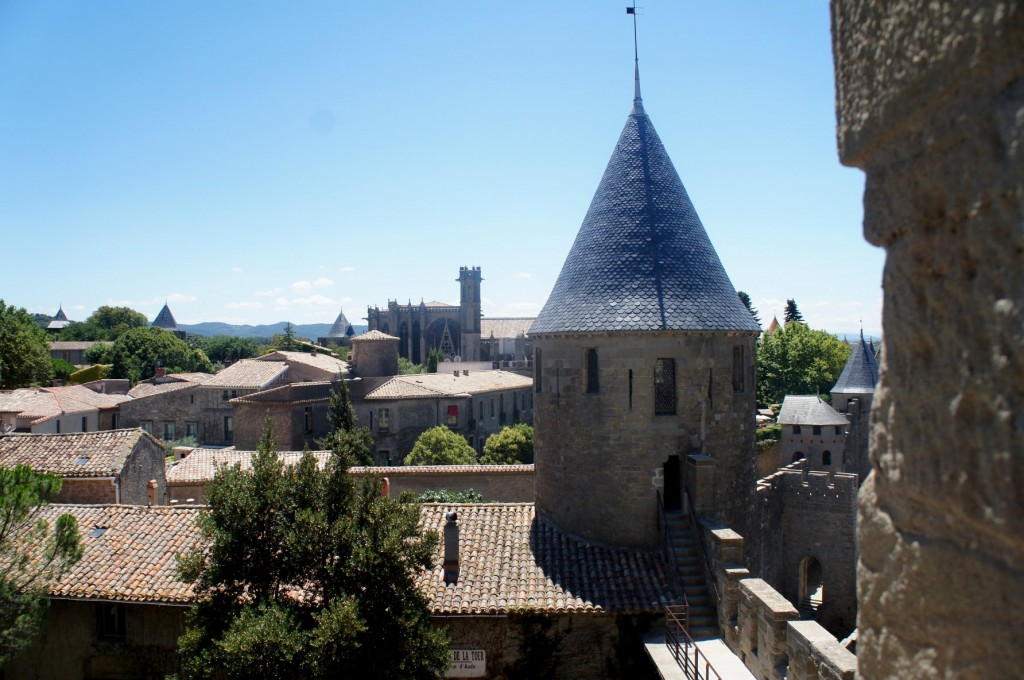 View of the Cathedral of Carcassonne.