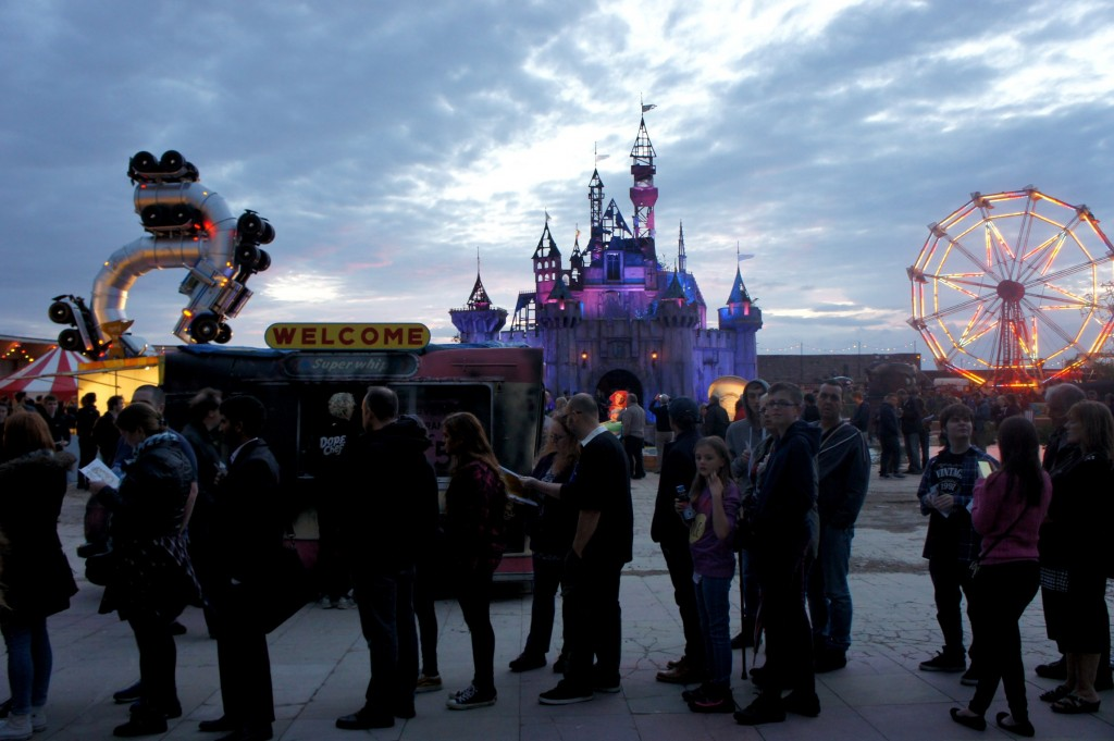 First look at Dismaland: Brits queuing.