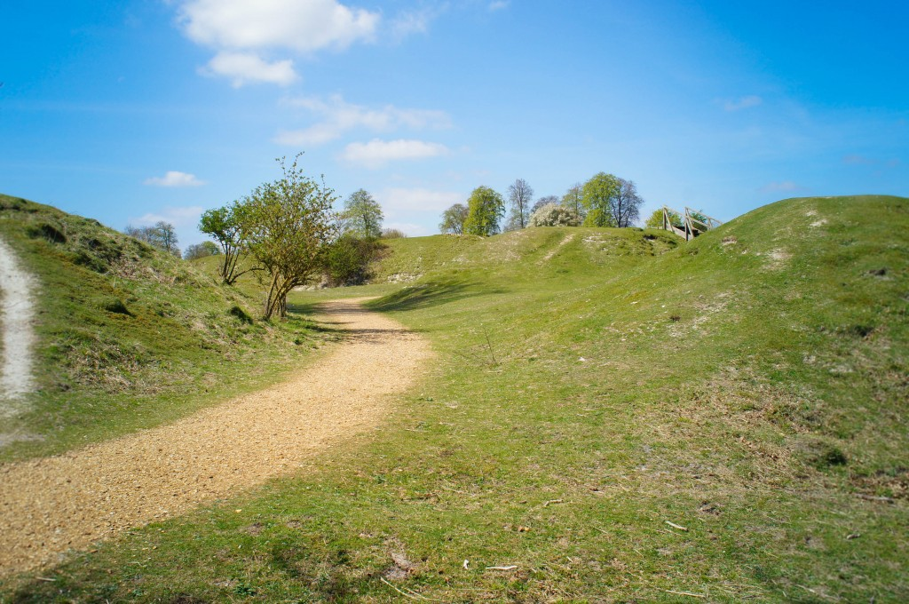 Walking around Danebury hillfort.