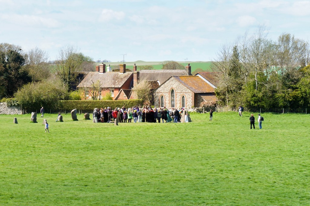 Present-day spiritual gathering at Avebury