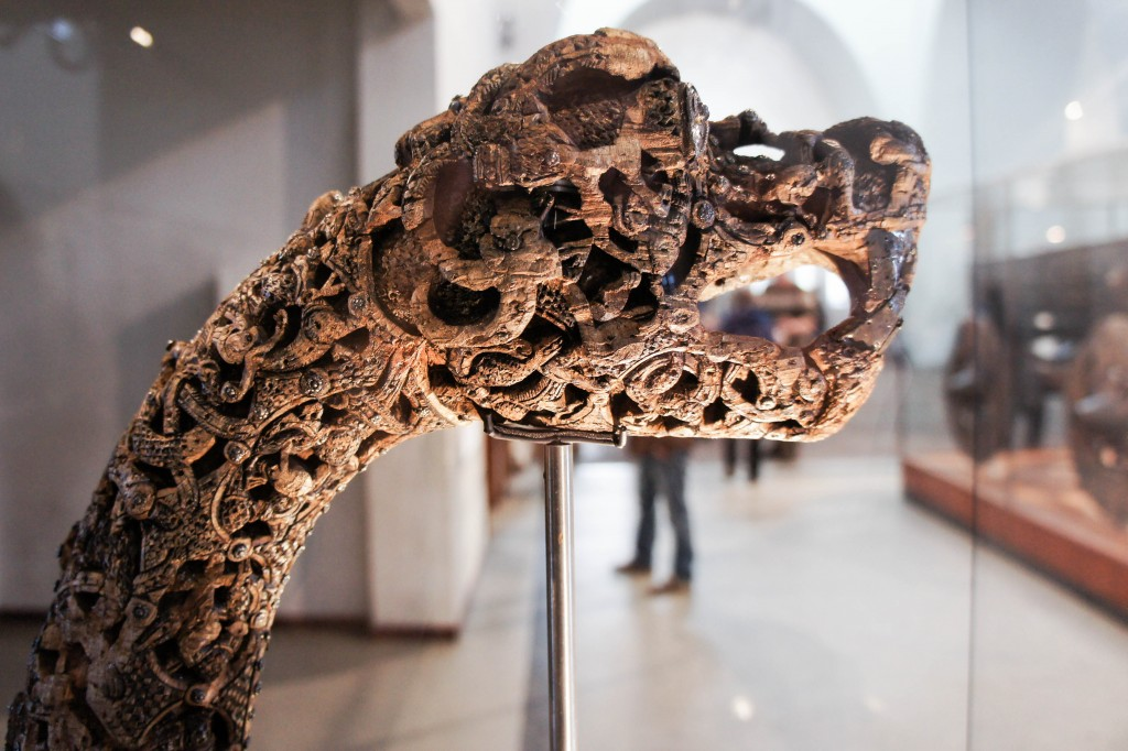 A highly decorated animal head from one of the ships.