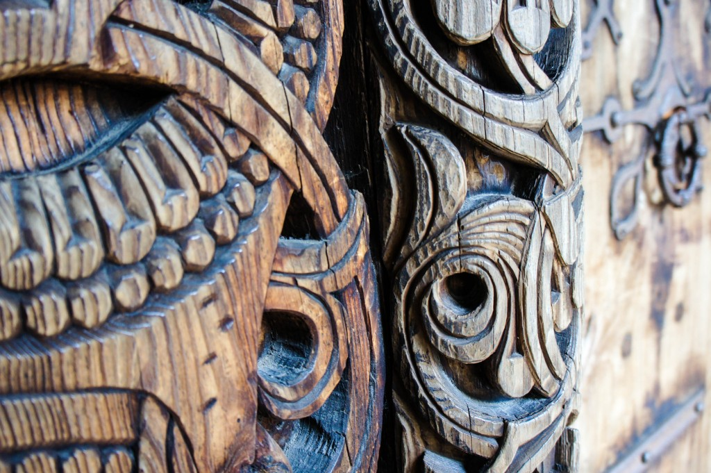 Another detail of the Folk Museum stave church.