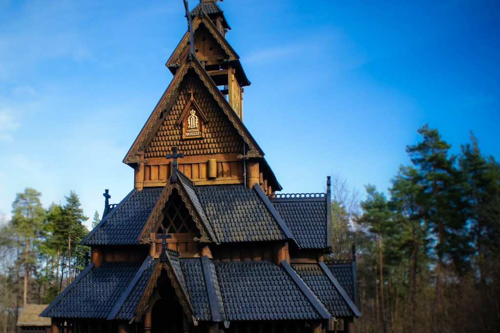 The exterior of the Folk Museum stave church.
