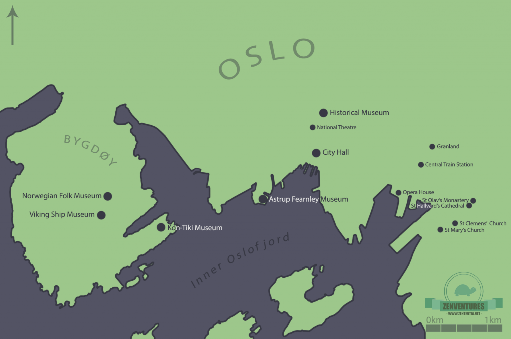 Map of Oslo museums, drawn by me!