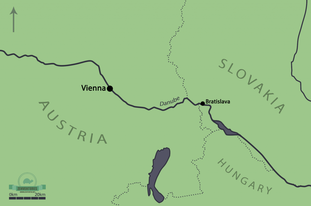 Vienna and the Danube region. Map drawn by me!