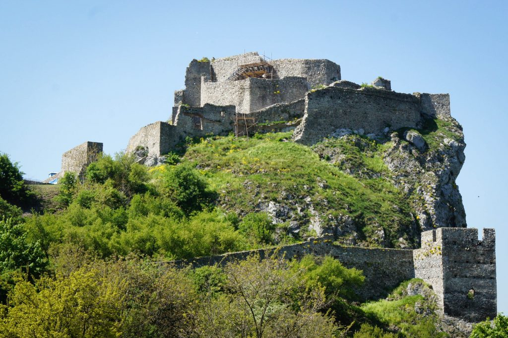 View of Devin Castle from below