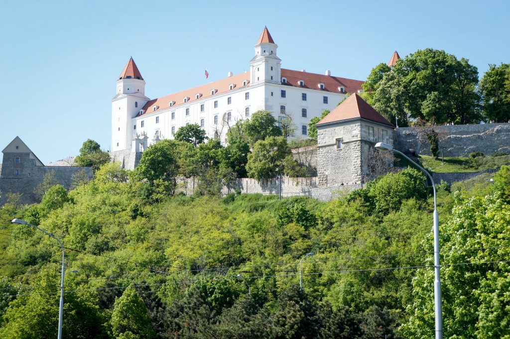 The rather less impressive modern castle of Bratislava