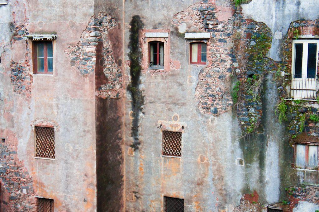 Catania walls. In the theatre.