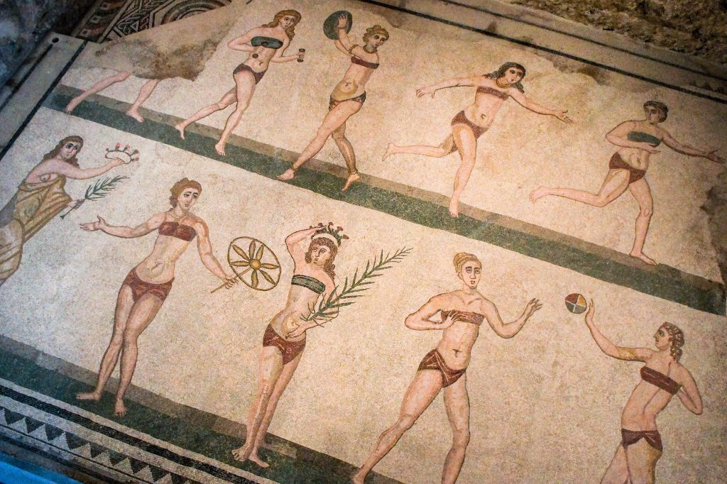 Famous Villa Romana mosaic of 'girls in bikini'.