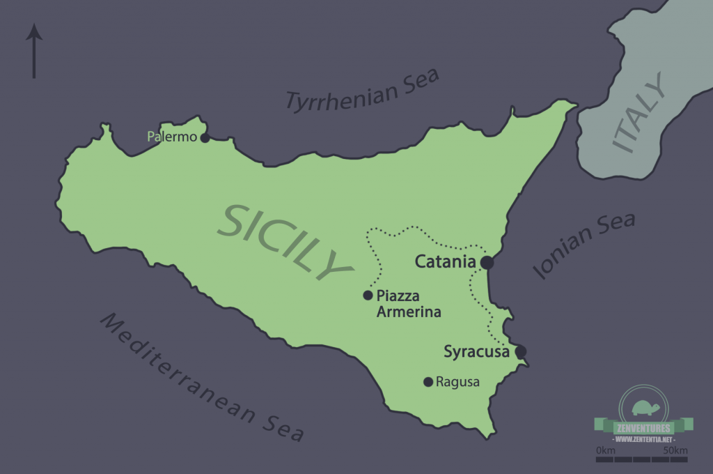 Map of Sicily. Drawn by me!