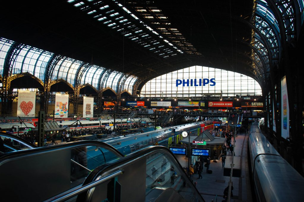 The rather magnificent Hamburg central station. (Apparently sponsored by Philips...)
