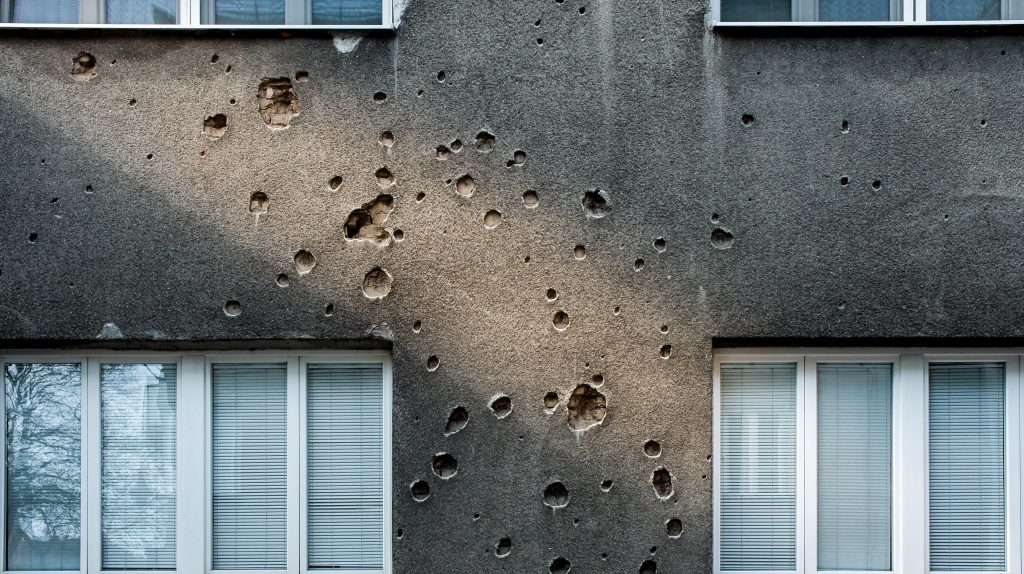 Traces of shelling on the buildings of Sarajevo...