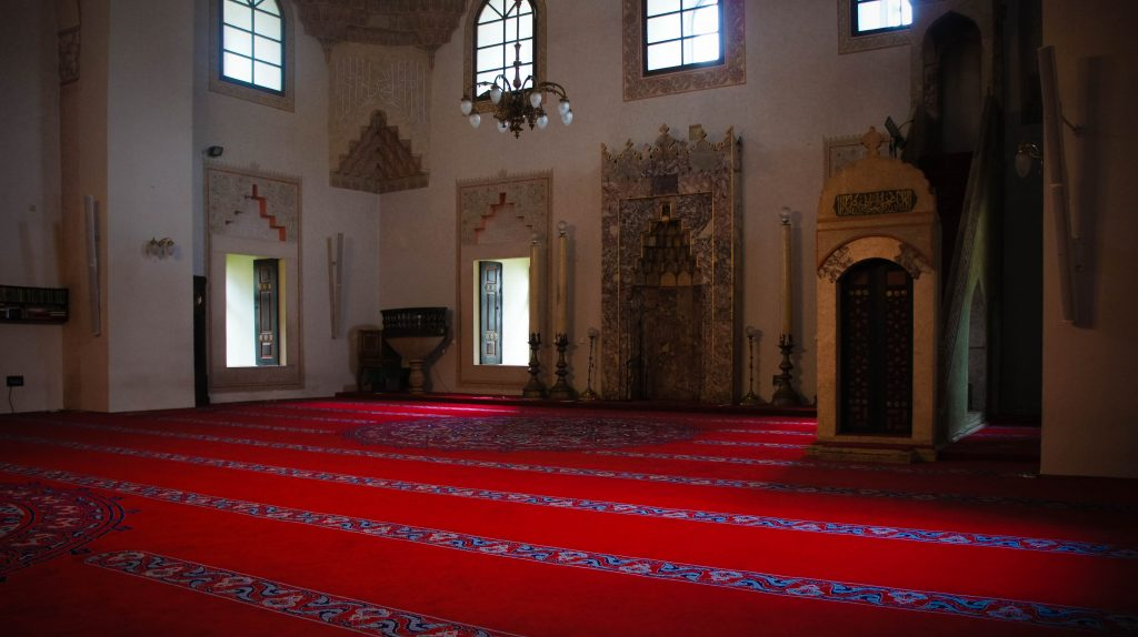 Inside the Gazi Husrev-beg Mosque.