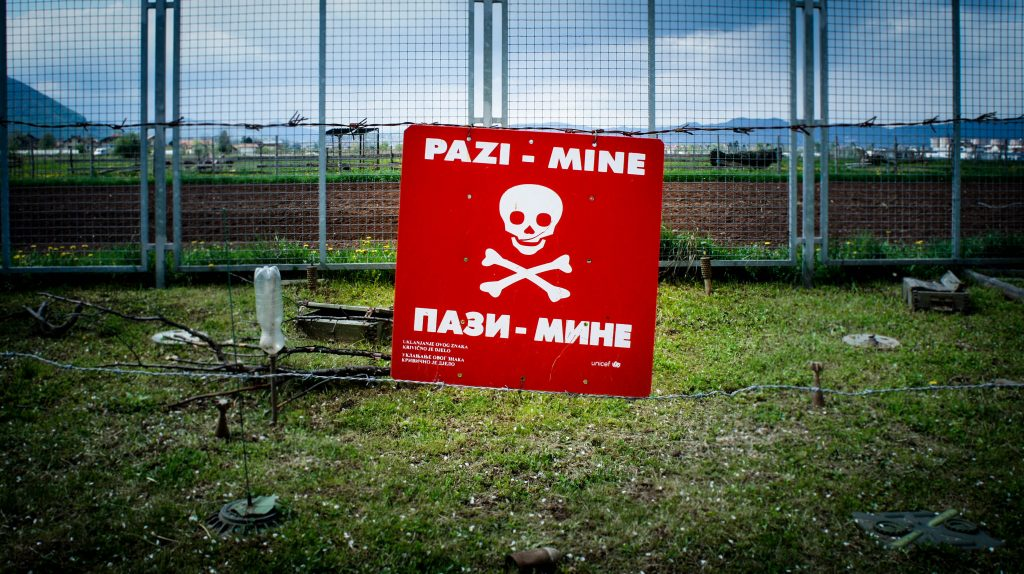 Traces of landmines from the war.