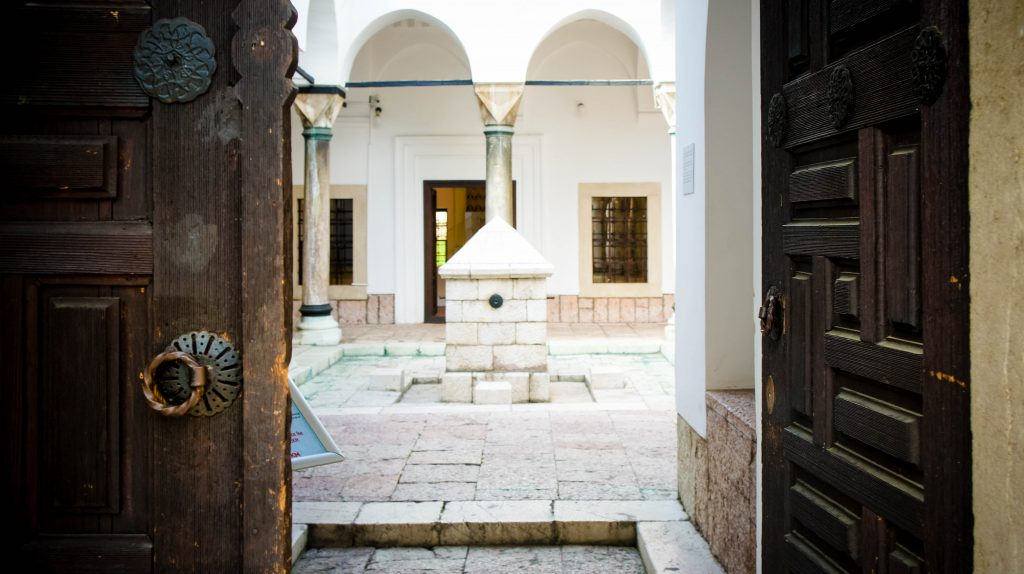 Entering Gazi Husrev Bey's Library Museum.