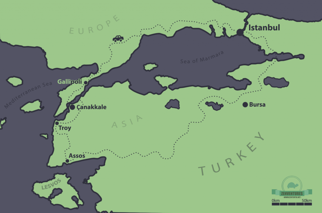 Map of Western Turkey, drawn by author.