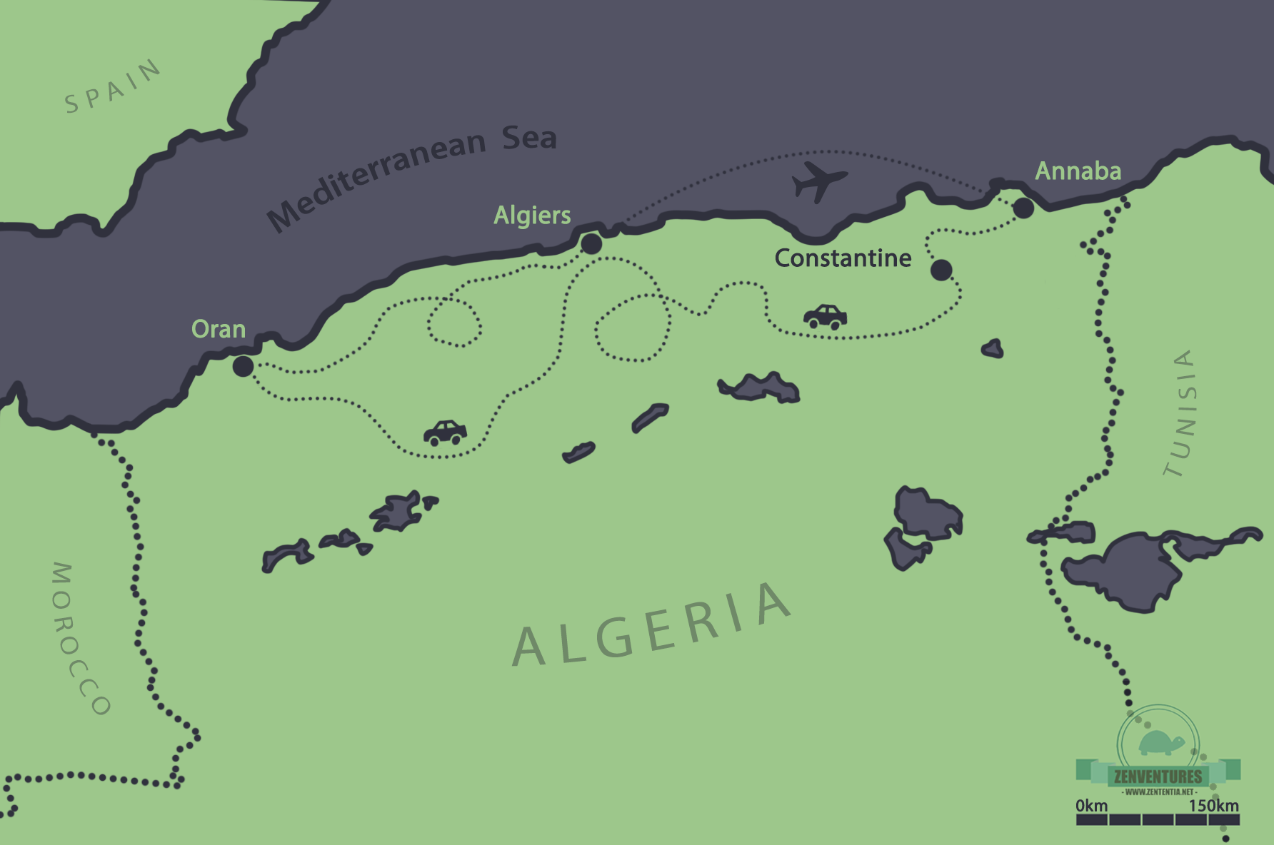 Map of our trip along the Algerian coast, drawn by author.